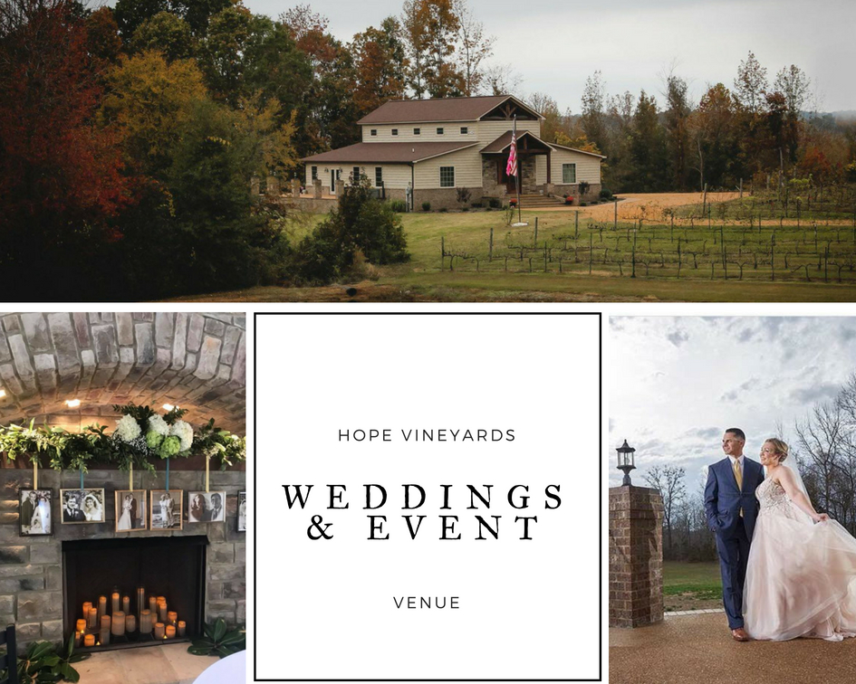 collage of photos of wedding venue and couples